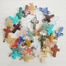 Wholesale 10pcs/lot Fashion Natural Cross Gemstone stone Silver P Beads Pendant