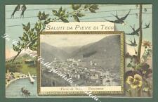 Liguria. PIEVE DI TECO, Imperia. Saluti da. Cartolina d'epoca viaggiata nel 1908