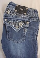 Miss Me Women's Boot Cut Denim Jeans w Gem Fleur de Lis Pkts 30 x 34 [E17248]