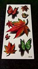 2 x Body Art - Leaf & Butterflies - Temporary Tattoos  3D-08 - Free Post