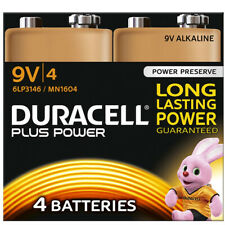 4 X DURACELL PLUS POWER 9V 6LR61 MN1604 PP3 ALKALINE BATTERIES SMOKE ALARM