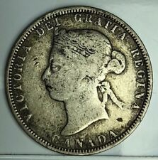 AUTHENTIC CANADA QUEEN VICTORIA 25 CENTS 1883 SILVER