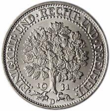 Chasseurs 331 Eichbaum République de Weimar 5 Reichsmark argent 1931 MZZ D unzirkuliert