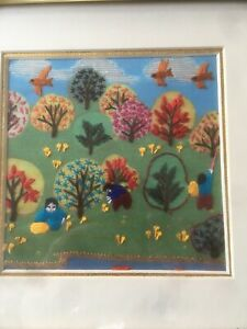 Calvin Lam Chinese Art Silk Embroidery  Naive Landscape Framed Wall Picture