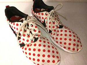 Nike Roshe Run Sneakers Mens US 13 White w/ Red Polka Dots #810857-106