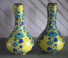 PR Original Art Deco Charles Catteau Boch Freres Art Pottery Vase 1920s w brass
