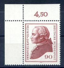 Federale mi-nr 806 angolo 1 (90) - 250.geb. Immanuel Kant - ** POSTA fresco 1974