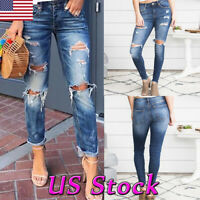 Womens Ripped Jeans Denim Pencil Pants High Waist Jeggings Stretch Slim Trousers
