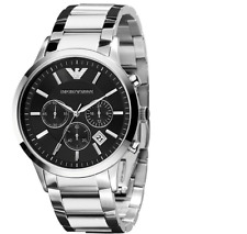 Emporio Armani Men Watch Classic Chronograph Black AR2434 Stainless New In Box