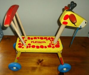 Vintage Playskool Giraffe Tyke Bicycle  Ride On Wooden Scooter Riding Toy 1960's