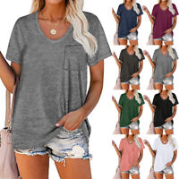 Women Round Neck Solid Short Sleeve Casual Loose Pocket T-Shirt Slim Plus Tops