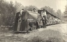 Original Vintage Amusement Park AZO RPPC- Benton Harbor MI- Hiawatha Train Ride
