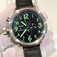 Parnis 50mm Military Chronograph Mens Watch Lefty Pilot Russian Canteen Homage