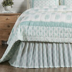 """VHC Brands Farmhouse Queen Bed Skirt Sea Glass Distressed Bedroom 60x80x16"""""""