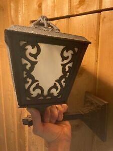 Vintage Large Outside Wall Lantern Porch Light Gothic Metal & Milk Glass Ornate