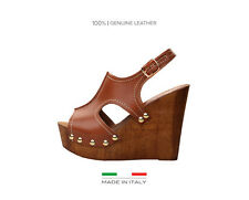 V1969 Italia Leather Wedge Shoes/Sandals.