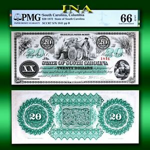 State of South Carolina 1872 $20 Currency Gem Unc PMG 66 EPQ Perfect Margins