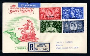 Tangier - 1953 QE2 Coronation Illustrated Registered Airmail First Day Cover