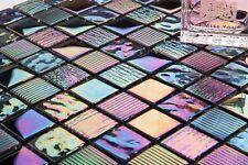 1 SQ M Pearl Iridescent Dark Purple Textured Glass Mosaic Tile Sheet 0159