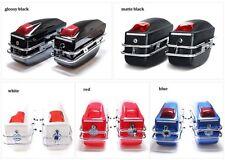 Hard Trunk Saddlebag Luggage w/ Lights For Honda Yamaha Suzuki Kawasaki Harley C