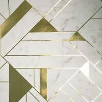 CROWN LUXE MAYFAIR ISLINGTON GEOMETRIC WALLPAPER GOLD / WHITE M1468 NEW