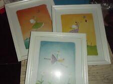 """Set of 3 FRAMED PRINTS by EMMA THOMPSON/FELICTY WISHES/9""""x11"""" white frames-Hangi"""