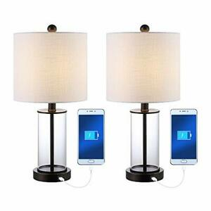 JONATHAN Y JYL8500A-SET2 JYL8500-SET2 USB Charging LED Table Lamp Glam for Be...