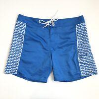 Eddie Bauer Mens Swim Trunks Board Shorts Blue Patterned Pocket Size L