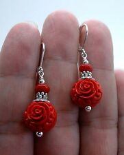 Exquisite Carved Red Cinnabar W. Red Coral Sterling Silver Earrings A0701