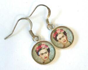 Frida Kahlo Art Artisan Handcrafted Glass Cabachon Silver Plate Dangle Earrings
