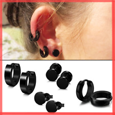 Hombres mujeres acero inoxidable ronda negro redondo orejas aretes pendientes