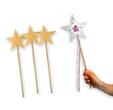 Wood Star Wand - Fairy Princess Party Wand Decorate - 36cms long Pack of 10
