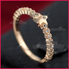 18K ROSE GOLD GF LADY GIRL STAR CRYSTAL FINGER TOE STACKABLE THIN BAND RING GIFT