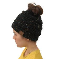 Women Girls Stretch Knit Hat Messy High Bun Ponytail Beanie Warm Hole Cap Hot