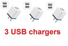 Lot of 3 Audio Video Dual USB Wall Charger for Apple iPad and iPhone