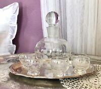 Art Déco Kristallglas Likör-Set Karaffe 5x Likörglas versilbert Tablett Glas