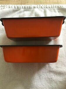 2 vintage retro orange skyline loaf baking tins