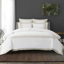 Wamsutta Hotel Border MICRO COTTON Full/Queen Duvet Cover Set in White/Taupe