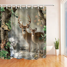 Two deer Bathroom Decor Waterproof-Fabric Shower Curtain & 12Hooks 71*71inch