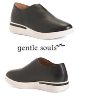 GENTLE SOULS Comfort PLATFORM SLIP ON FASHION Wedge Leather Sneakers Shoes Black