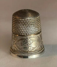 Antique Stern Brothers STERLING SILVER Ornate Scrolls THIMBLE SIZE 11
