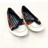 Sperry Womens sz 9 Topsider Chandler White Patent Leather Ballet Flat Loafers