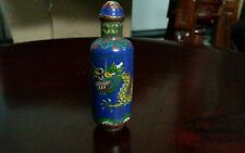 Antique Oriental Chinese Cloisonne Enamel Dragon Snuff Bottle