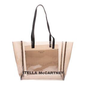 RRP€400 STELLA MCCARTNEY Tote Bag Eco Friendly Transparent Panel Coated Logo