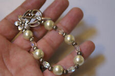 Handmade Toggle bracelet Silver tone Flower clasp wedding boho Faux Pearl 7in