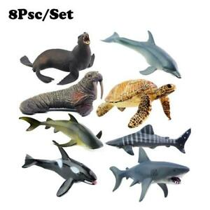 8Pcs Ocean World Sea Life Creatures Whales Shark Dolphin Fish Figures Kids Toy