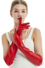women new fashion elbow long real sheep leather evening long gloves