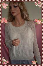 L Beige Wheat Womens Lightweight  Pullover VINTAGE Crochet Long Sleeve Sweater