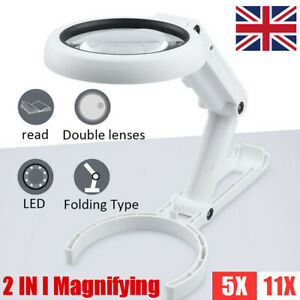 11X Magnifying Glass With Light 8 LED Magnifier Foldable Stand Desk Read White