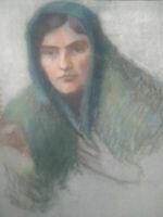 Unique grand pastel portrait jeune femme au voile années 20 - 30 grand format
